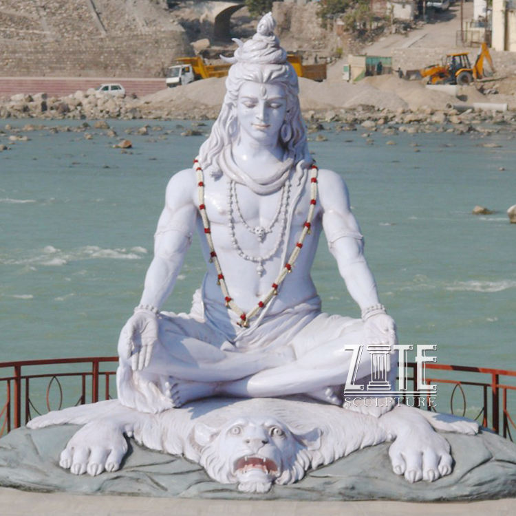 High Quality hand carved garden white marble deity statue of lord shiva sculpture on sale