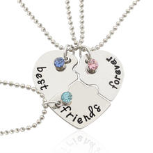 "3 pcs best friends forever"" Rhinestone Broken Heart Shape Bff Necklace Friendship"