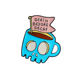 QIHE Coffee Shop Halloween Souvenir Gift For Friends Blue Skeleton Coffee Tea Cup DEATH BEFORE DECAF Enamel Brooches Lapel Pin