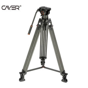 Hot selling carbon fiber tripod Cayer BV25LH professional video camera tripod with horsehoof rubber feet