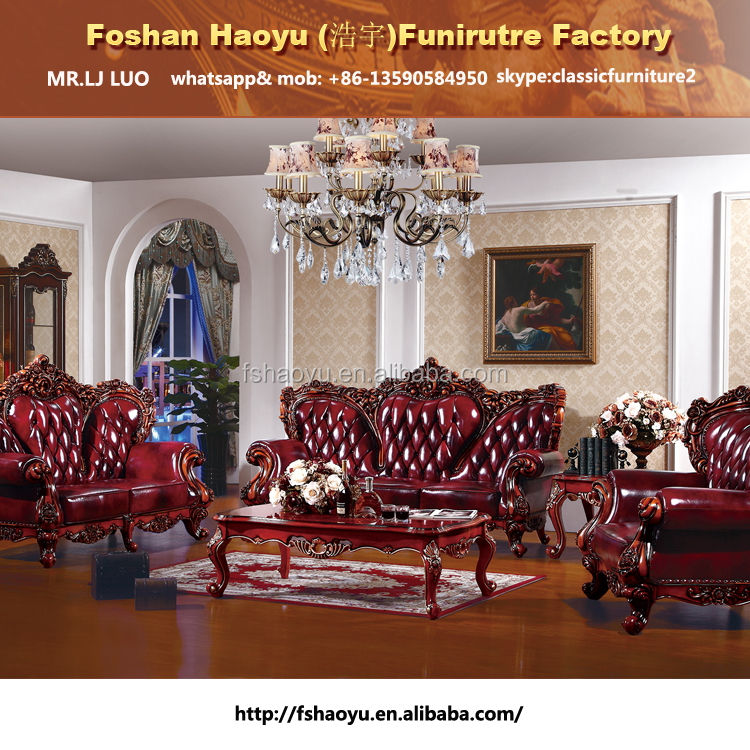 royal red genuine leather sofa, living room leather sofa furniture