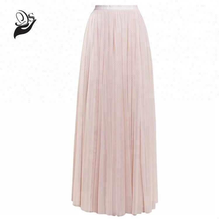 Hot sale 2019 woman summer pleated tulle long maxi skirt