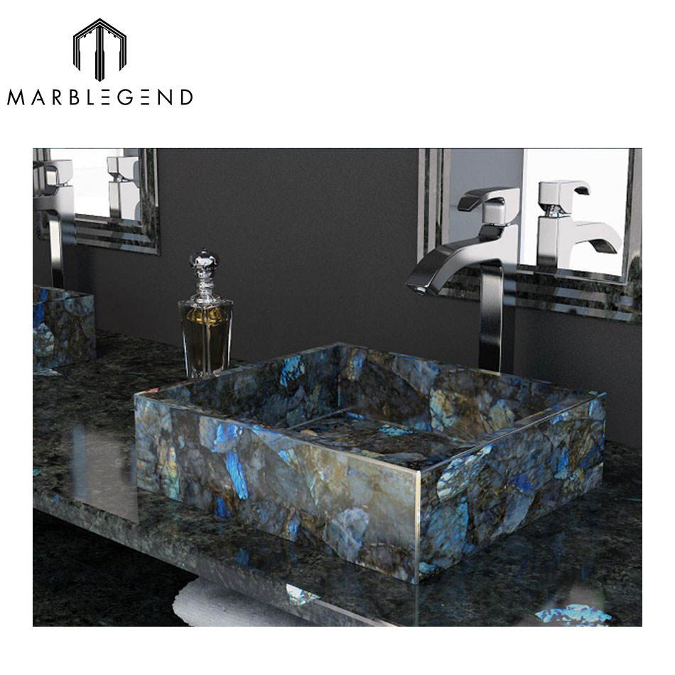 100% Natural Stone Blue Labradorite Sink Genstome Basin