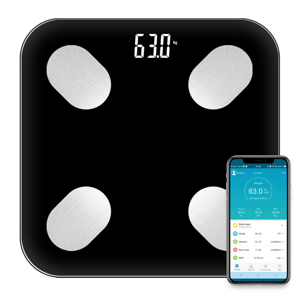 Digital bluetooth 4.0 calibration glass smart scale body scale