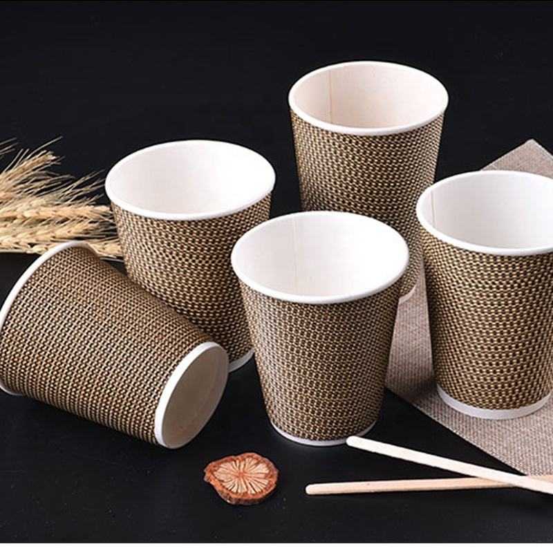 Factory Supplied FDA Listed Disposable Waxed Double Ripple Wall Paper Coffee Noddle Cup 12oz