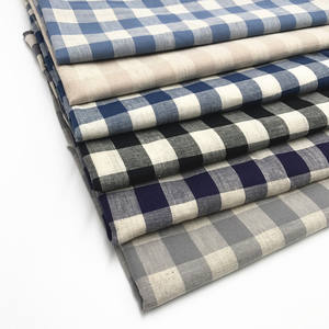 Hot Sale Linen Cotton Fabric Plaid Shirt Clothing Home Textile Fabric