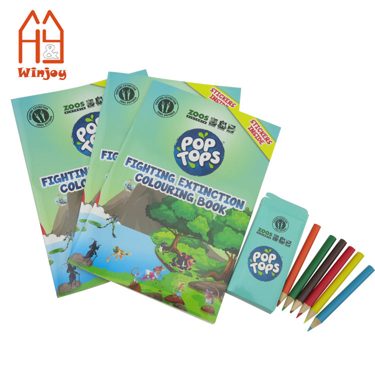 Hot selling school stationery coloring book and crayon pencil set for kids drawing