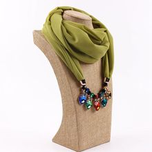 RM11 2017 Wholesale Charming Solid Color Chiffon Women Infinity Pendant Jewelry Scarf