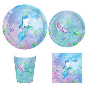 Huancai Little Mermaid Party Supplies paper Plates mermaid birthday party theme