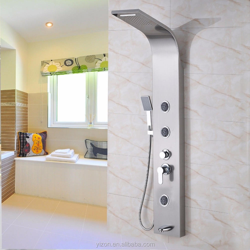 Stainless Steel Shower Column Panel Waterfall/Rainfall Bathroom Shower Set Three Massage Jets Tub Spout with Hand Shower Mixer