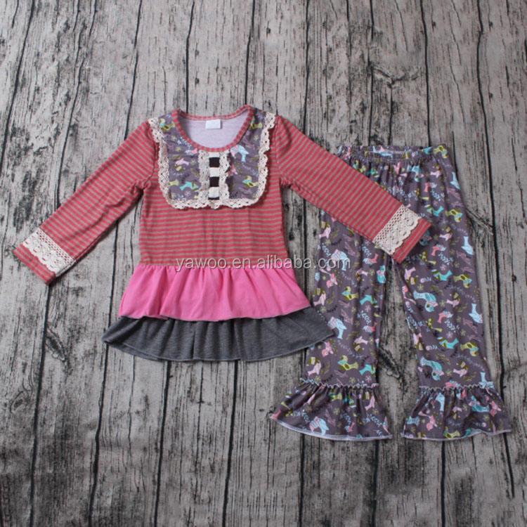 Yawoo stripe cotton top match ruffle pants trendy juniors clothing cheap china wholesale kids clothing