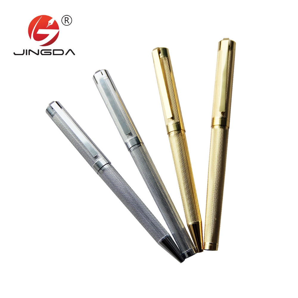 Gold silver ball pen engraved designs rollerball pen with gift box for gift pen set
