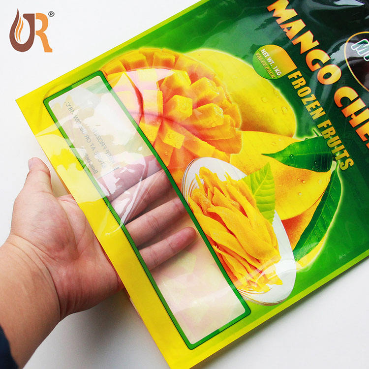 Wholesale flat pouch plastic frozen custom vegetable fruit food zip packaging plastic bags for frozen bags vacuum mango packing