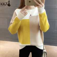 2019 Patchwork Multicolor Women Winter Sweater Jumper Ladies Female Knitted Pullover Sweater for Women