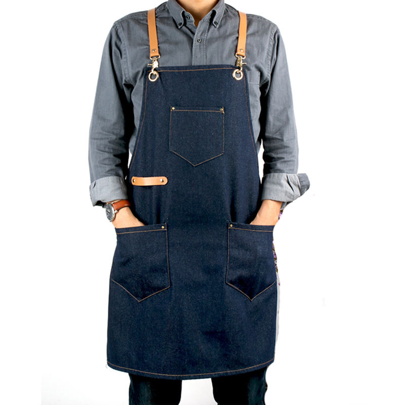 Hook style leather shoulder strap denim apron coffee shop milk tea shop supermarket literary bookstore apron