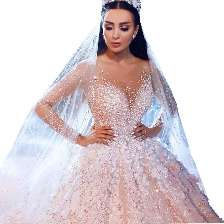 LUWEIYA Modest Lace Wedding Dress Long Sleeve Ball Gowns Blingbling Beads Luxury Bridal Gown For Women