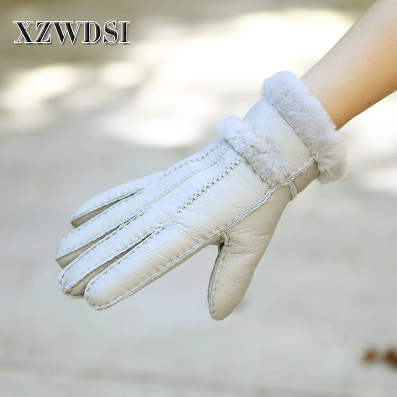 CX-A-32F New Winter Sheepskin Leather Full Finger Fur Gloves