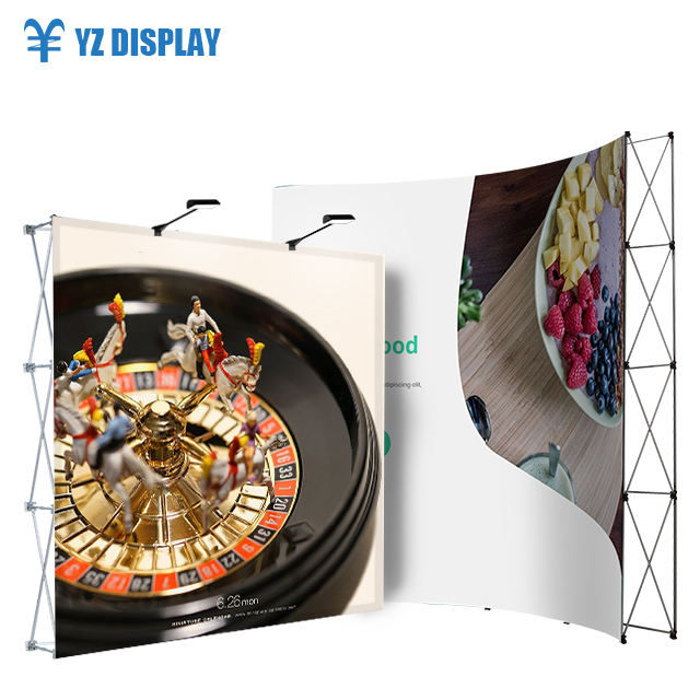 10Ft Portable Trade Show Booth Scarf Display Stand High Quality Popup Exhibition Advertising Back Wall
