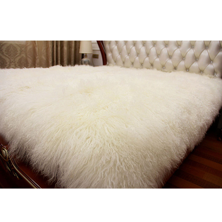 Long hair curly lamb fur pelt / mongolian lamb fur plate / finished lamb skin