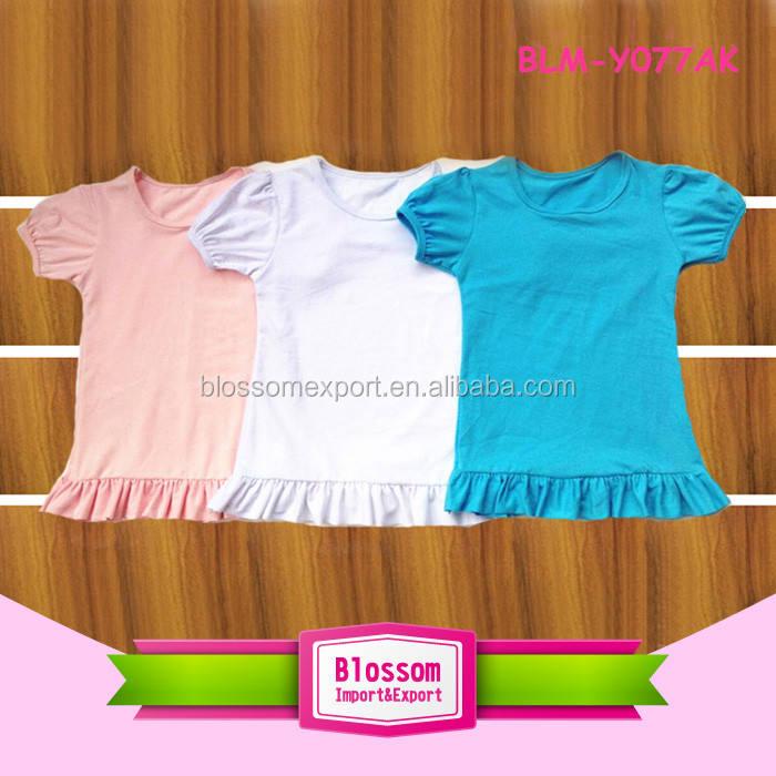 Summer Baby Kids Soft Cotton Short Sleeve Top Fashion Sweet Teen Girls Ruffle Bottom Blank T Shirt