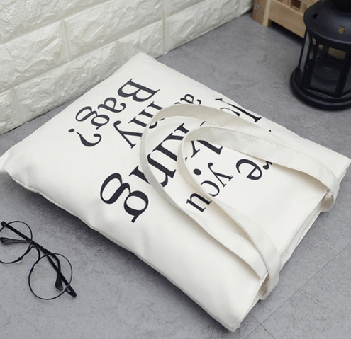 Silkscreen Customised Logo Canvas Bag Shopper Bag Custom Plain Tote Bag