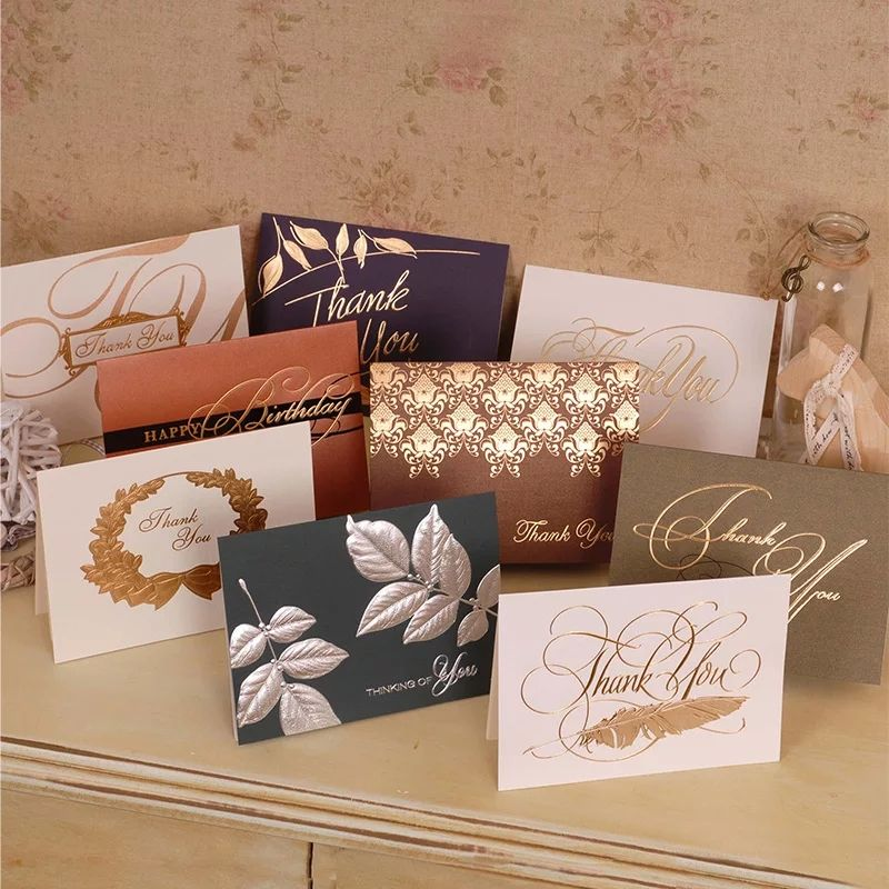 2019 fashion High Quality Hot Stamp Gold Foil Cards Thank You Cards Greetings Cards with Envelopes