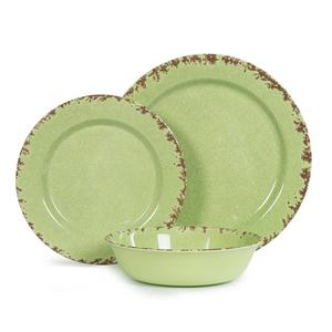 12 pcs Rustic crackle dinner dish set melamine green serving plate&bowl