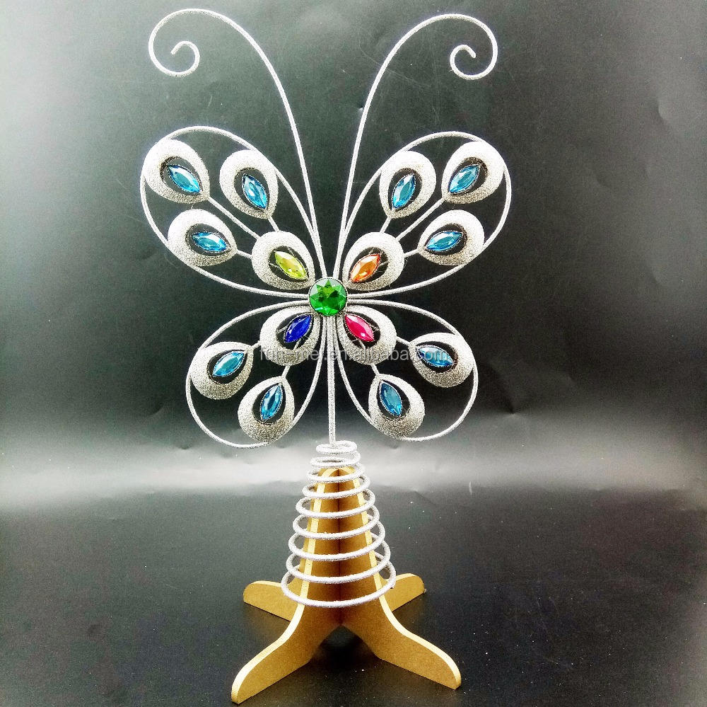 Iron Wire Glitter Christmas Butterfly Tree Topper decoration with Jewelry
