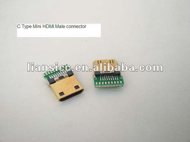 Mini HDMI C Type Male connector with PCB