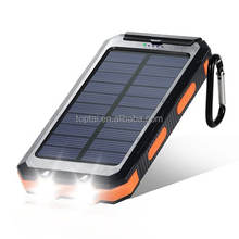 10000mAh Dual USB Power Bank Solar Phone Battery Charger External Battery Pack with Flashlight Carabiner Compass