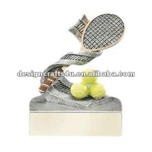 polyresin tennis racket and ball trophy