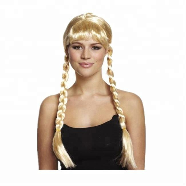 ADULT LADY/'S LONG BLACK PIGTAIL PONYTAIL HAIR EXTENSION FANCY DRESS ACCESSORY
