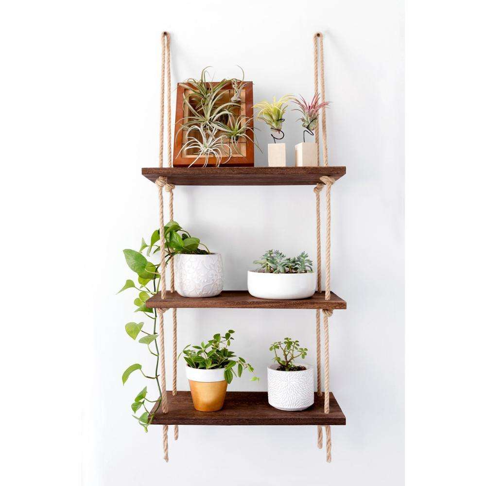 Wood Hanging Shelf Wall Swing Storage Shelves 3 Tier Jute Rope Organizer hanging wood shelf rope tier