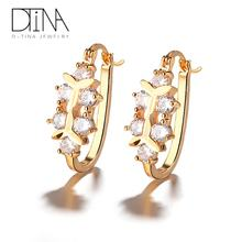 DTINA 2019 fashion jewelry earrings dubai gold plated latest design women earrings
