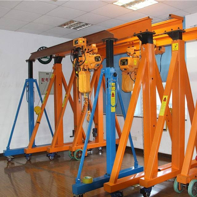 High-quality Yellow 1ton Portable Lifting Rail Mounted Mini Gantry Crane