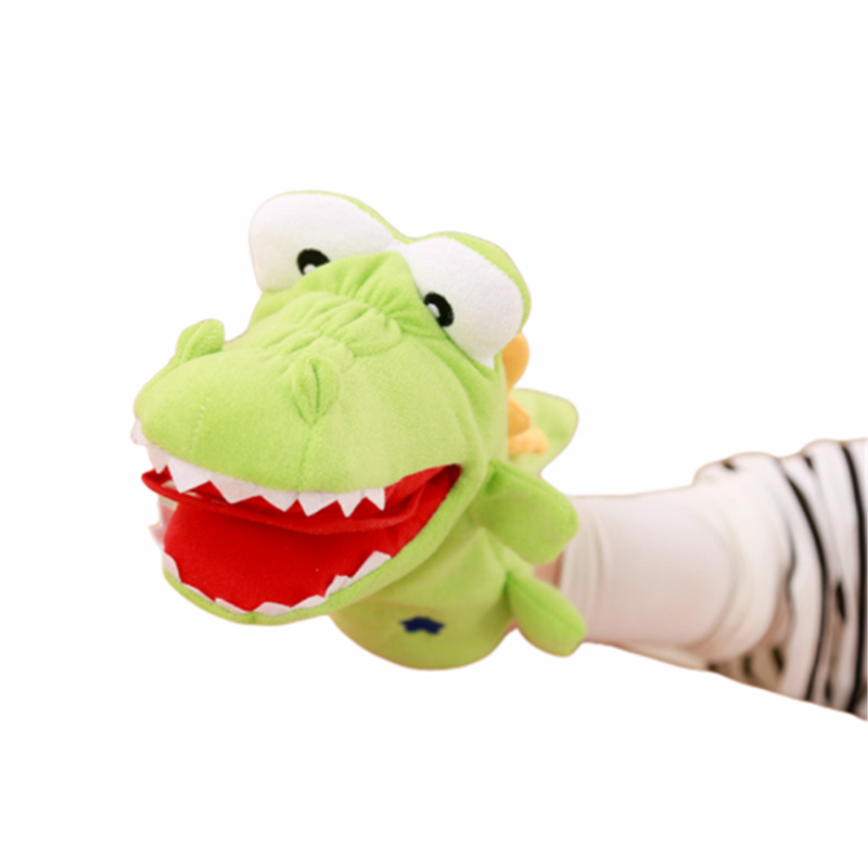 Promotional Kids Soft Plush Animal Puppet Toy Custom Hand Puppet Educational Cartoon Plush crocodile and frog Hand Puppet