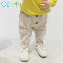 Spring corduroy casual boys girls baby pants blank solid color cotton infant trousers