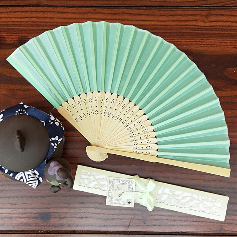 [i Am Your Fans] Sufficient Stock! Hot Selling bamboo handle plain silk wedding fan box set nice gift for wedding party