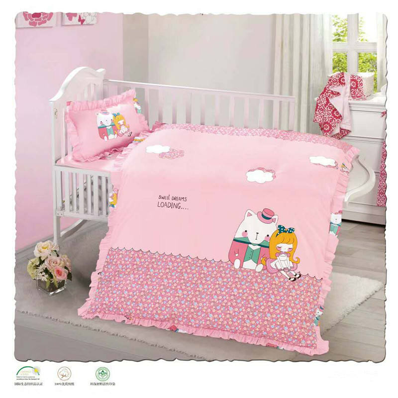 Wholesale 100% Cotton Bedding Set for Girl Twin Size Baby/crib Cartoon Printed Cotton Bed Fitted Sheet Set