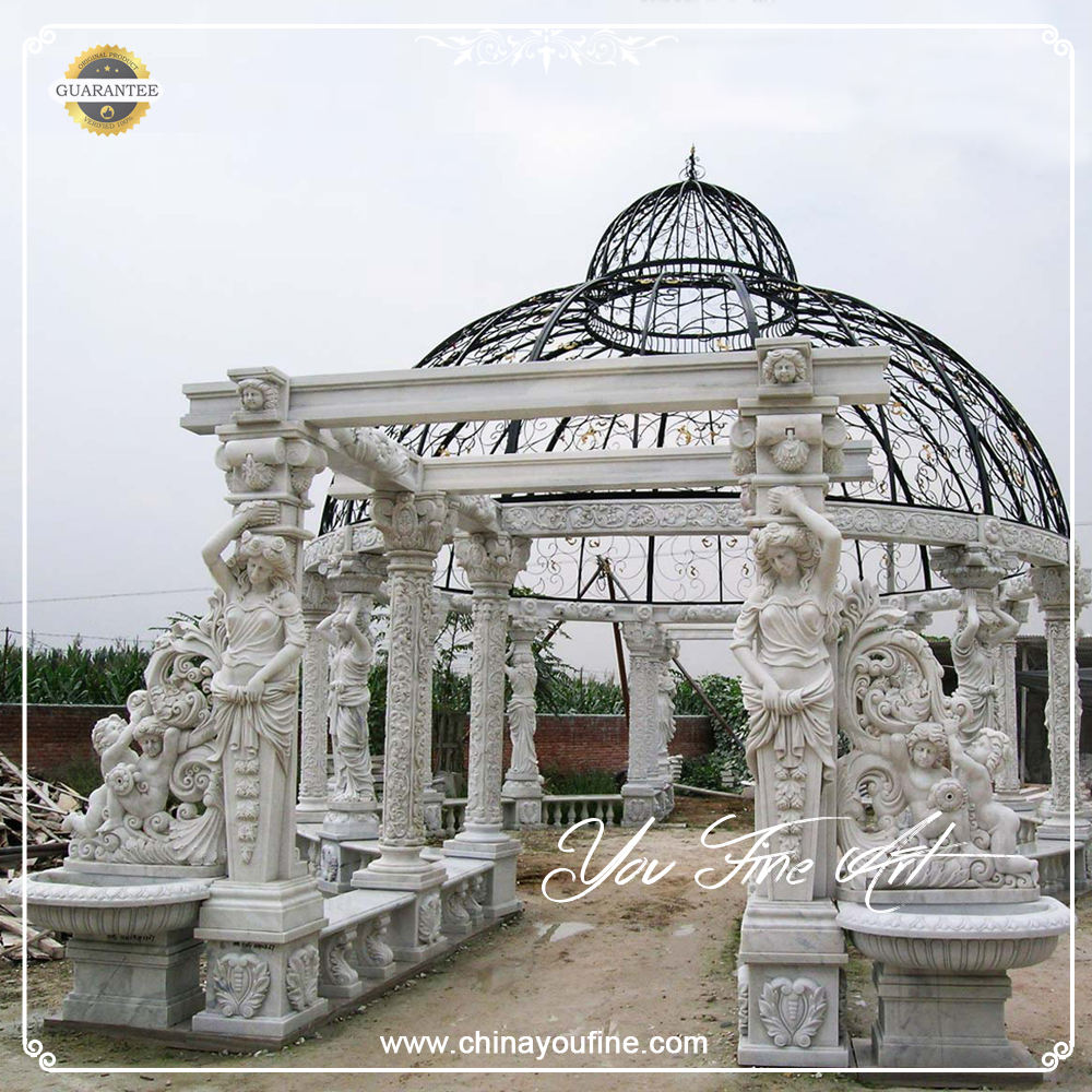 Large size natural stone Round Marble Gazebo gallery with Wind Roof