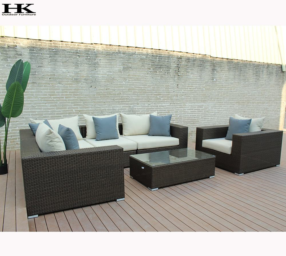 Luxury Modern Contemporary Outdoor Patio Rattan Wicker Bamboo Italian Style French Couch Sofa Set