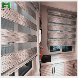 Hafei zebra blinds double layer roller blinds for customized size shades sheer curtain