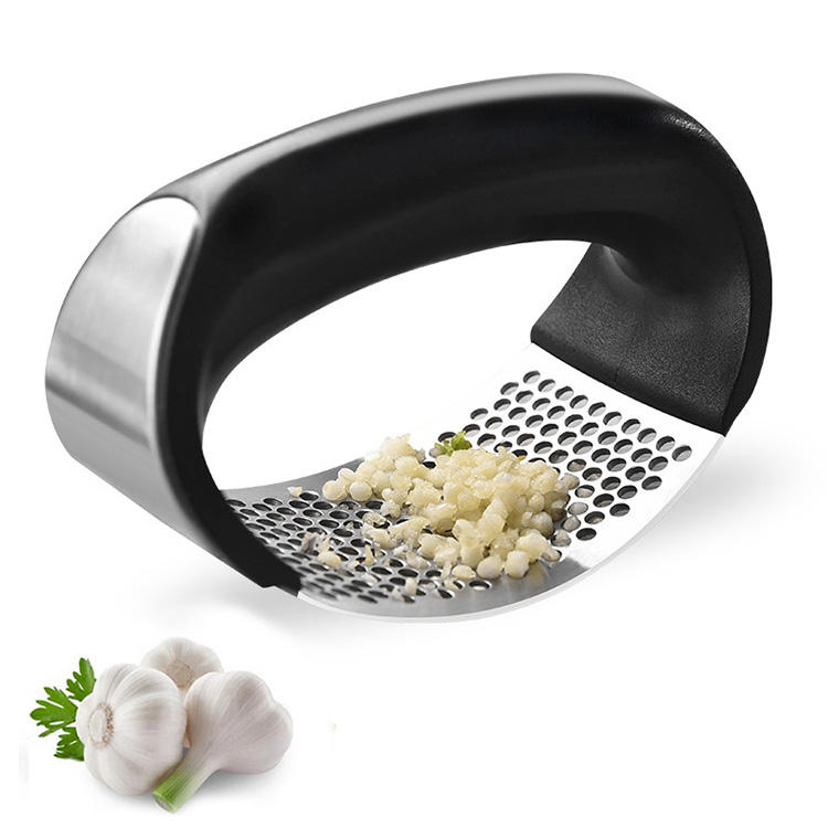 Dishwasher Safe Professional Stainless Steel Garlic Mincer and Crusher with Silicone Tube Roller and Cleaning Brush Heim /& Elda Garlic Press and Peeler Set