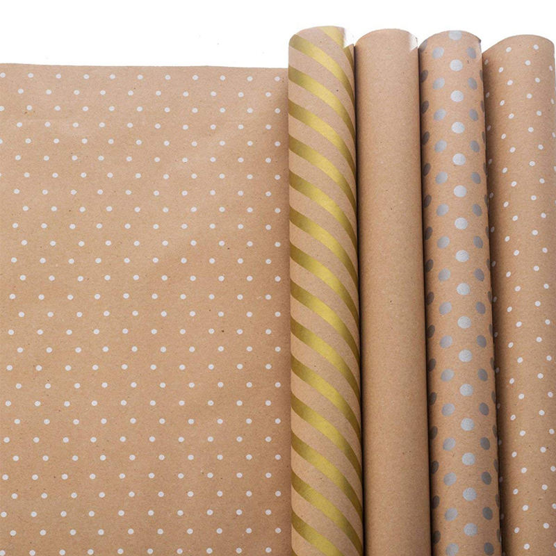 OEM Design Custom Printed Brown Kraft Wrapping Paper Rolls for Gifts