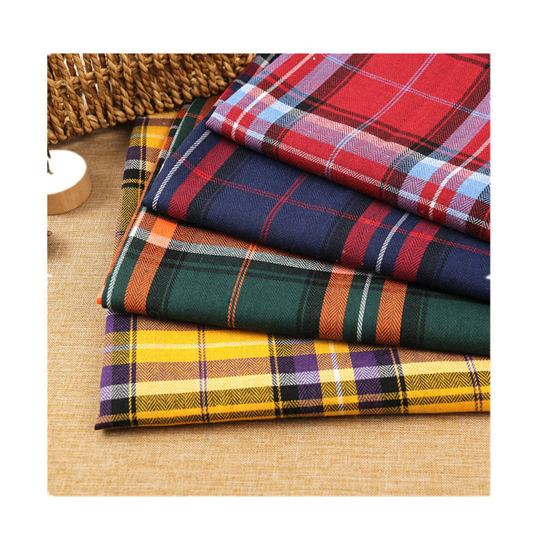 factory wholesale new arrival polyester cotton plaid fabric herringbone shirt fabric children coat clothing fabric