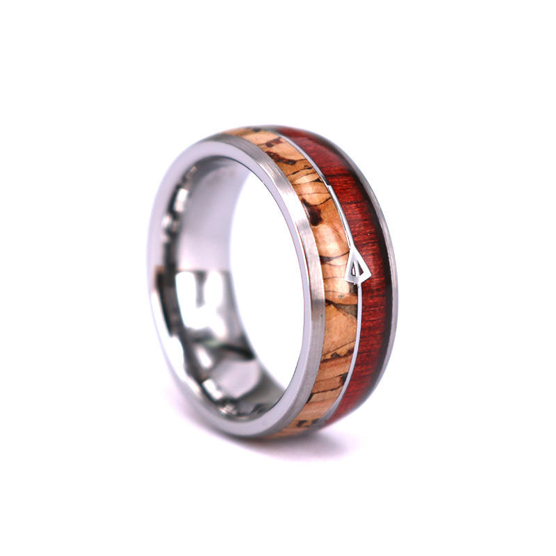 Cork Wood & Rosewood with Two Silver Hunting Arrows Inlay Dome Tungsten Ring Valentines day Gift, Anniversary Gift Ring