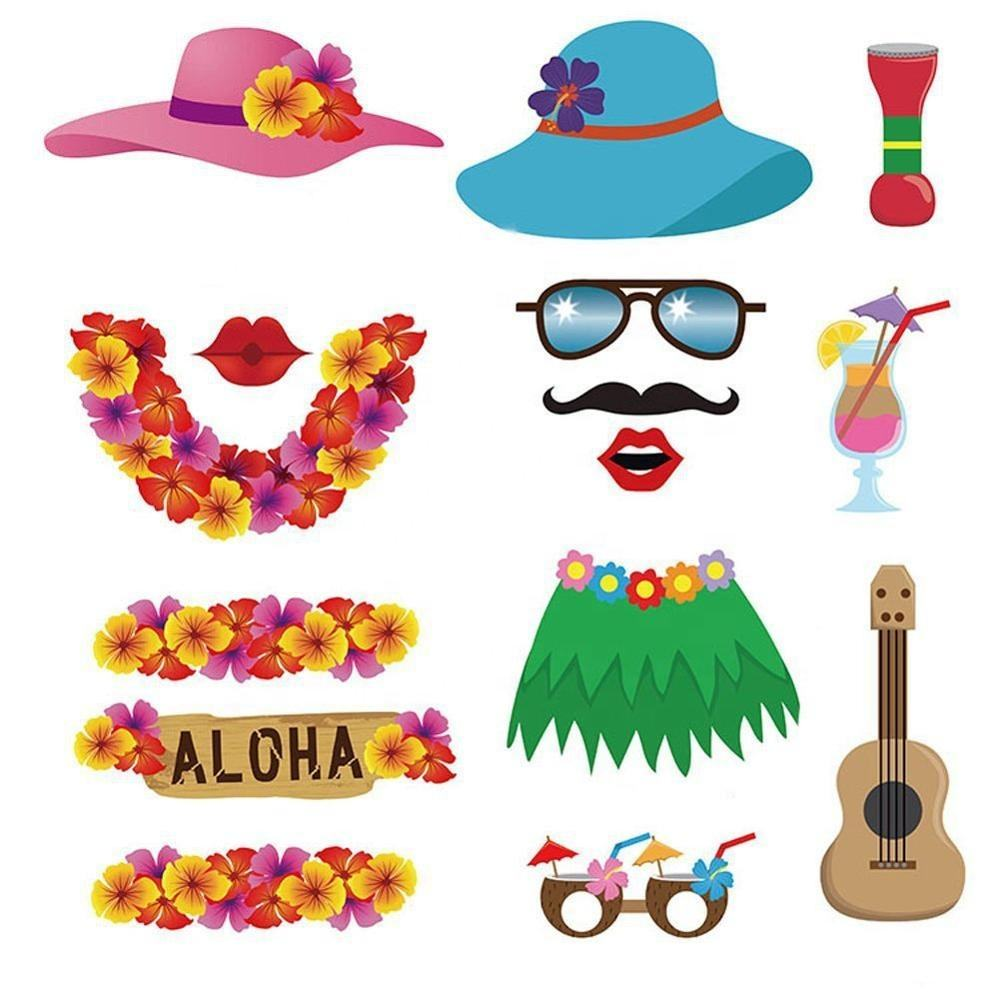 WOTI PD-0018 Factory Wholesale 60pcs Luau Photo Booth Props for Hawaiian/Tropical/Tiki/Summer Pool Party Decorations Supplies