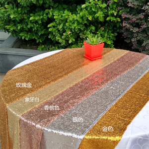 Wholesale 100% Polyester Decoration Wedding Sequin Table Runner, Sequin gold table runner