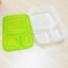 Eco-friendly PP material 3 compartment food container/plastic storage box/kids lunch box