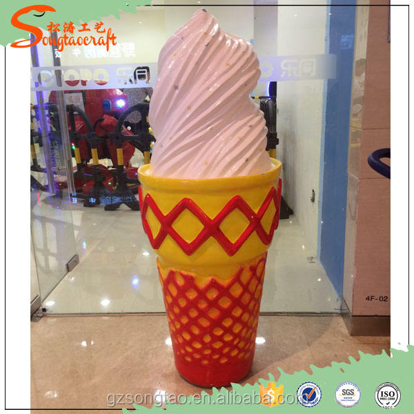 2016 Mall decoration Cartoon Animation Fiberglass Statue, Artificial Ice Cream
